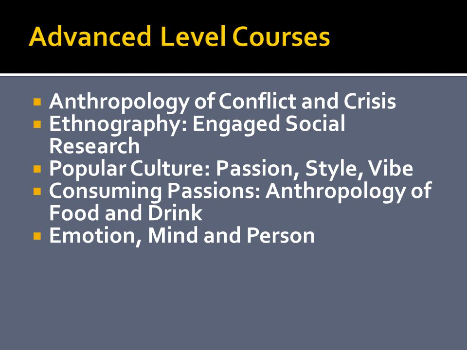 Anthropology of Conflict and Crisis Ethnography: Engaged Social Research Popular Culture: Passion, Style, Vibe Consuming Passions: Anthropology of Food and Drink Emotion, Mind and Person