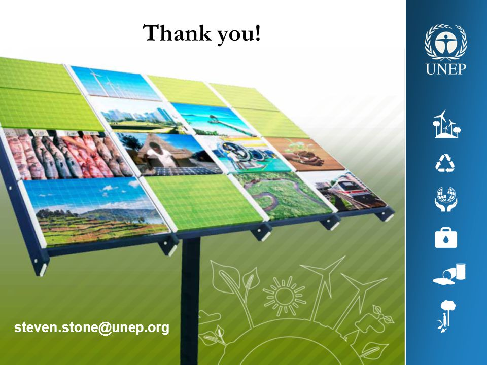 Thank you! steven.stone@unep.org