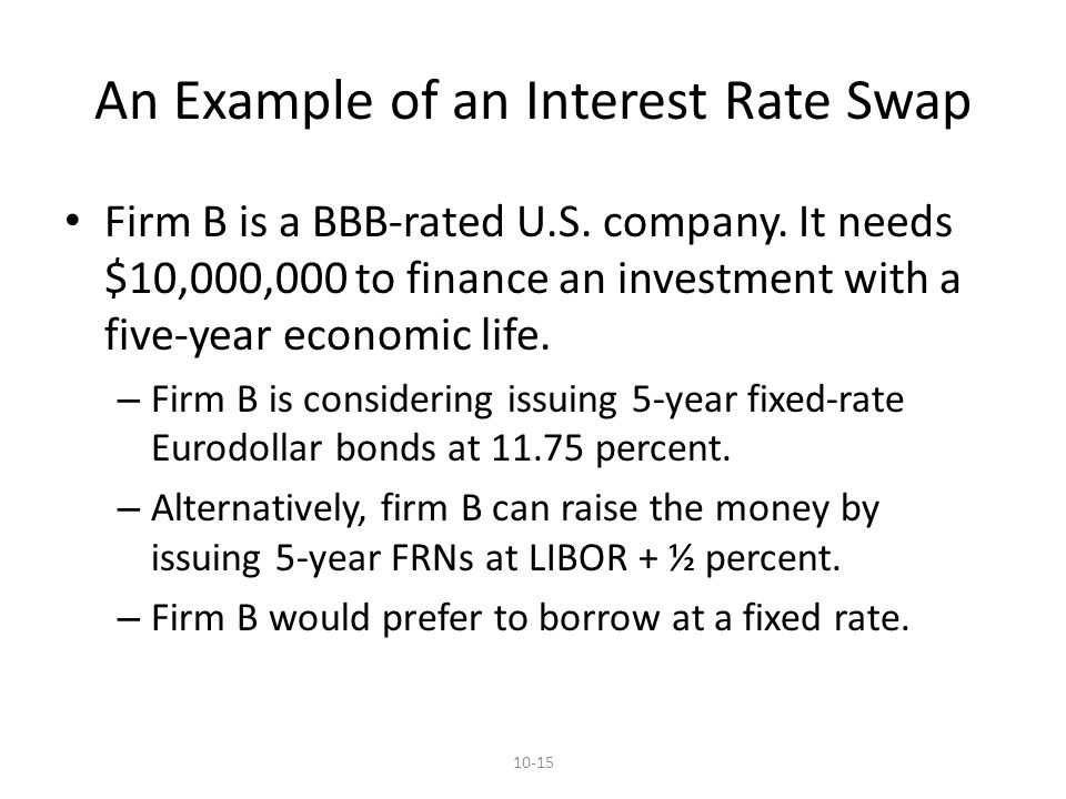 10-15 An Example of an Interest Rate Swap Firm B is a BBB-rated U.S.
