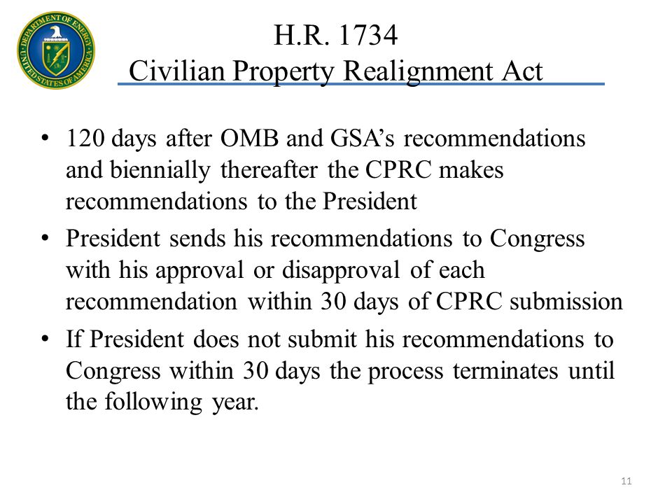 120 days after OMB and GSAs recommendations and biennially thereafter the CPRC makes recommendations to the President President sends his recommendations to Congress with his approval or disapproval of each recommendation within 30 days of CPRC submission If President does not submit his recommendations to Congress within 30 days the process terminates until the following year.