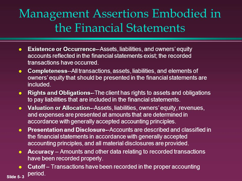 Slide 5- 14 Audit Procedures l Physical examination l Observation l Confirmation l Tracing l Vouching l Inspection l Reconciliation l Reperformance l Analytical procedures l Inquiry l Comparison Physical Evidence Third-Party Representations Documentary Evidence Computations Data Interrelationships Client Representations Accounting Records
