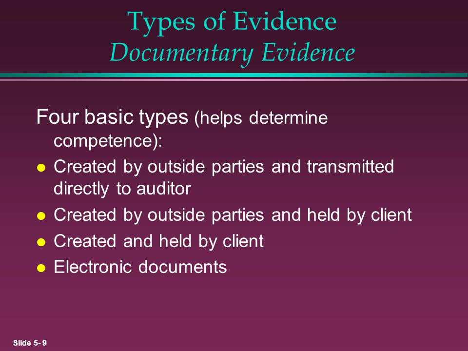 Slide 5- 20 Types of Working Files l Current files »Typically arranged and indexed around accounts in clients financial statement »Support current years audit report l Permanent files »Document items of concern over multiple years »Provide summary of policies and organization of client »To preserve working papers that have little change over time.