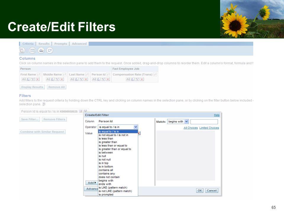 65 Create/Edit Filters
