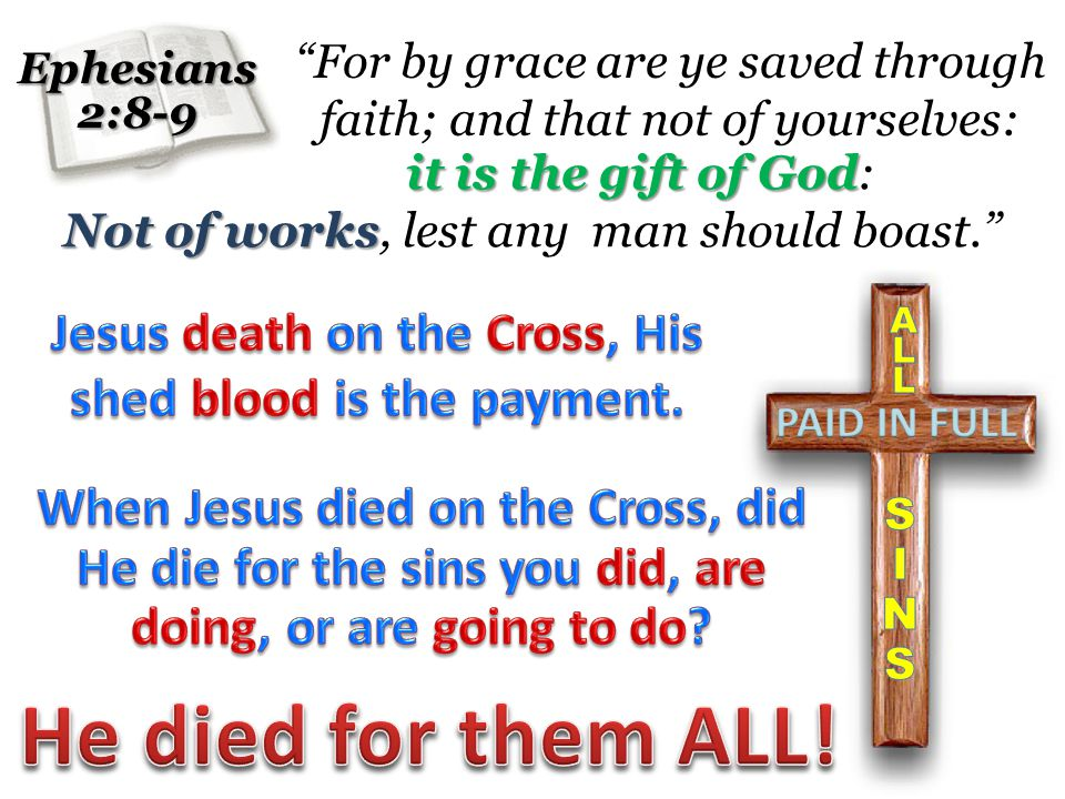 For by grace are ye saved through faith; and that not of yourselves:Ephesians2:8-9 it is the gift of God it is the gift of God: Not of works Not of works, lest any man should boast.