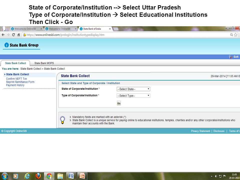 State of Corporate/Institution --> Select Uttar Pradesh Type of Corporate/Institution Select Educational Institutions Then Click - Go