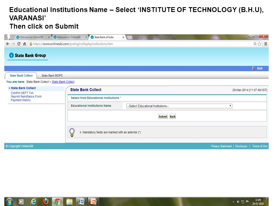 Educational Institutions Name – Select INSTITUTE OF TECHNOLOGY (B.H.U), VARANASI Then click on Submit