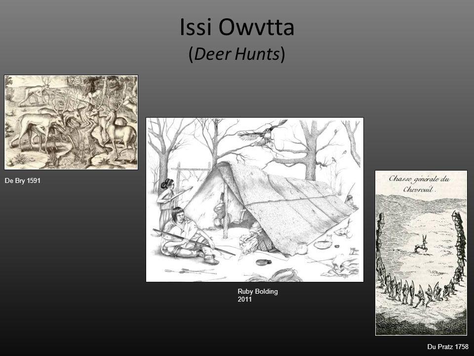 Issi Owvtta (Deer Hunts) De Bry 1591 Ruby Bolding 2011 Du Pratz 1758
