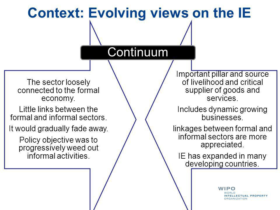 Context: Evolving views on the IE The sector loosely connected to the formal economy. Little links between the formal and informal sectors. It would g