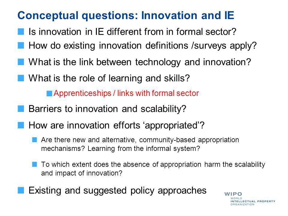 Conceptual questions: Innovation and IE Is innovation in IE different from in formal sector? How do existing innovation definitions /surveys apply? Wh