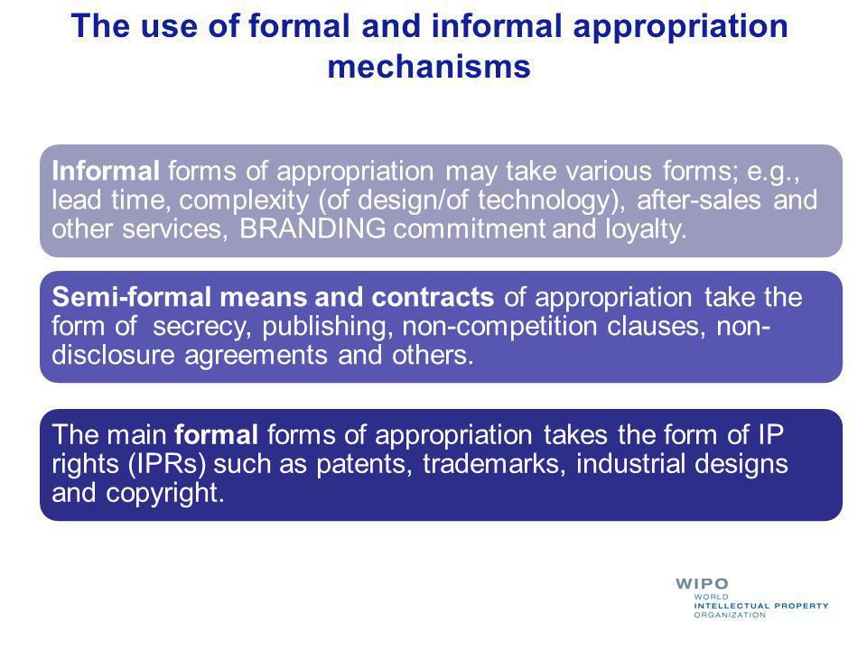 The use of formal and informal appropriation mechanisms The main formal forms of appropriation takes the form of IP rights (IPRs) such as patents, tra