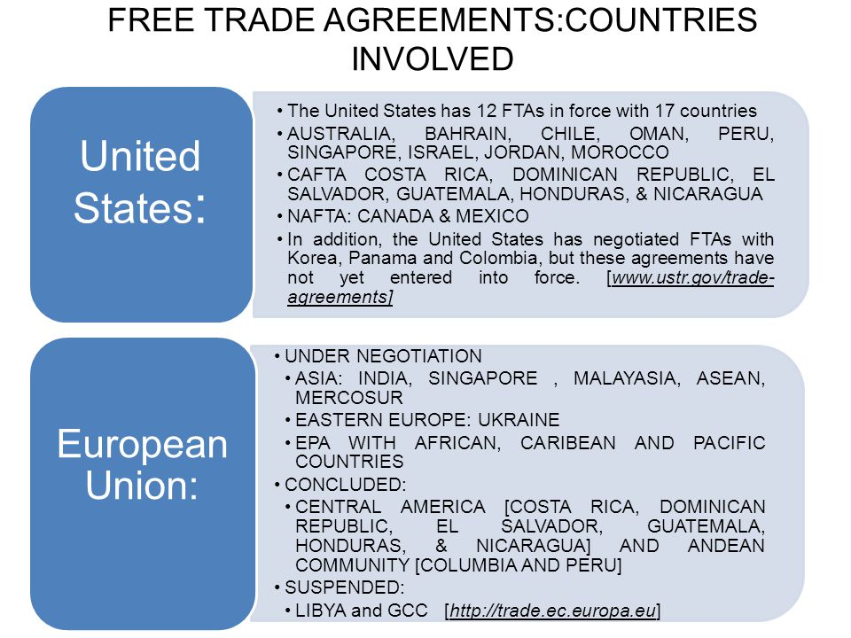 FREE TRADE AGREEMENTS:COUNTRIES INVOLVED The United States has 12 FTAs in force with 17 countries AUSTRALIA, BAHRAIN, CHILE, OMAN, PERU, SINGAPORE, IS