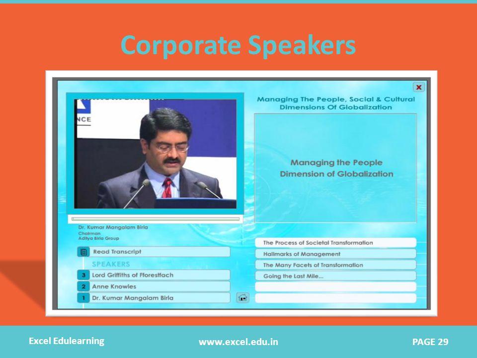 Corporate Speakers www.excel.edu.in Excel Edulearning PAGE 29