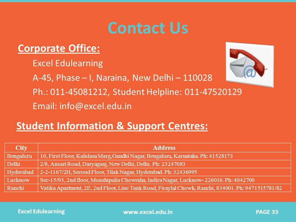 Contact Us Corporate Office: Excel Edulearning A-45, Phase – I, Naraina, New Delhi – 110028 Ph.: 011-45081212, Student Helpline: 011-47520129 Email: info@excel.edu.in Student Information & Support Centres: CityAddress Bengaluru10, First Floor, Kalidasa Marg,Gandhi Nagar, Bengaluru, Karnataka.
