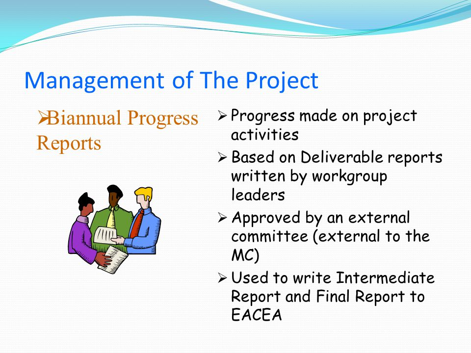 Biannual Progress Reports Progress made on project activities Based on Deliverable reports written by workgroup leaders Approved by an external committee (external to the MC) Used to write Intermediate Report and Final Report to EACEA Management of The Project