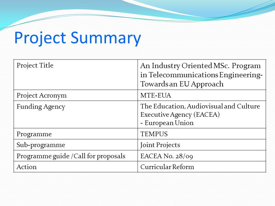 Project Summary An Industry Oriented MSc.