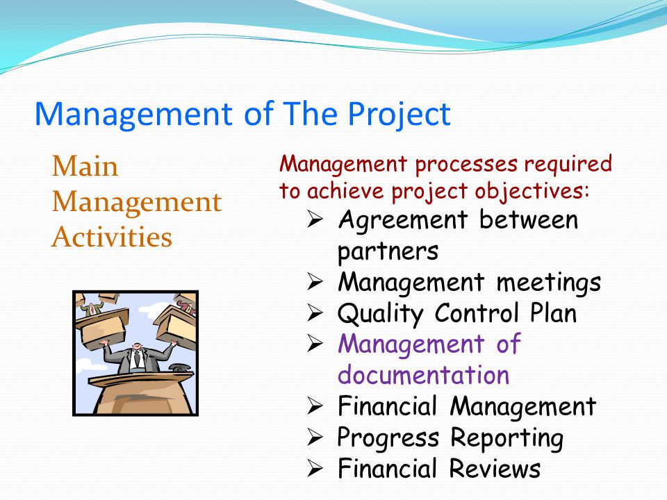 Main Management Activities Management processes required to achieve project objectives: Agreement between partners Management meetings Quality Control Plan Management of documentation Financial Management Progress Reporting Financial Reviews Management of The Project