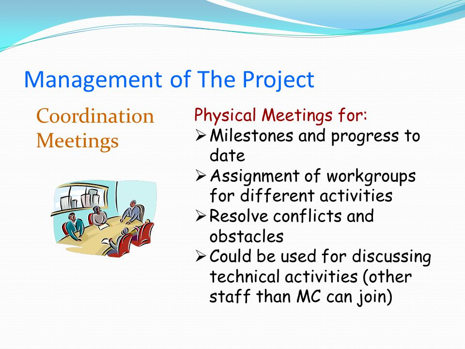 Coordination Meetings Physical Meetings for: Milestones and progress to date Assignment of workgroups for different activities Resolve conflicts and obstacles Could be used for discussing technical activities (other staff than MC can join) Management of The Project