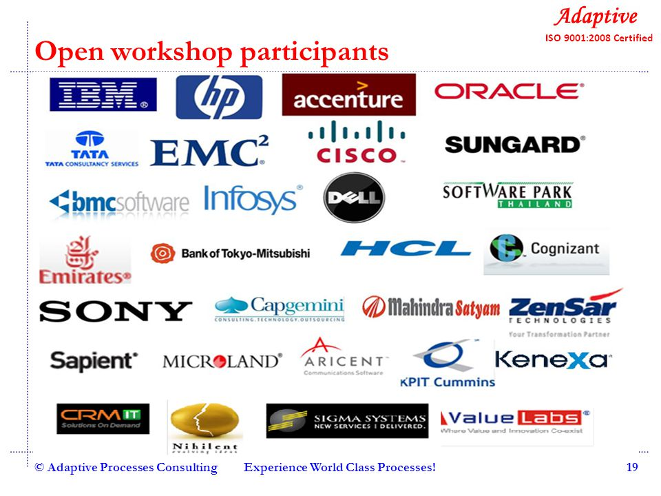 Quality Consulting Open workshop participants © Adaptive Processes ConsultingExperience World Class Processes!19