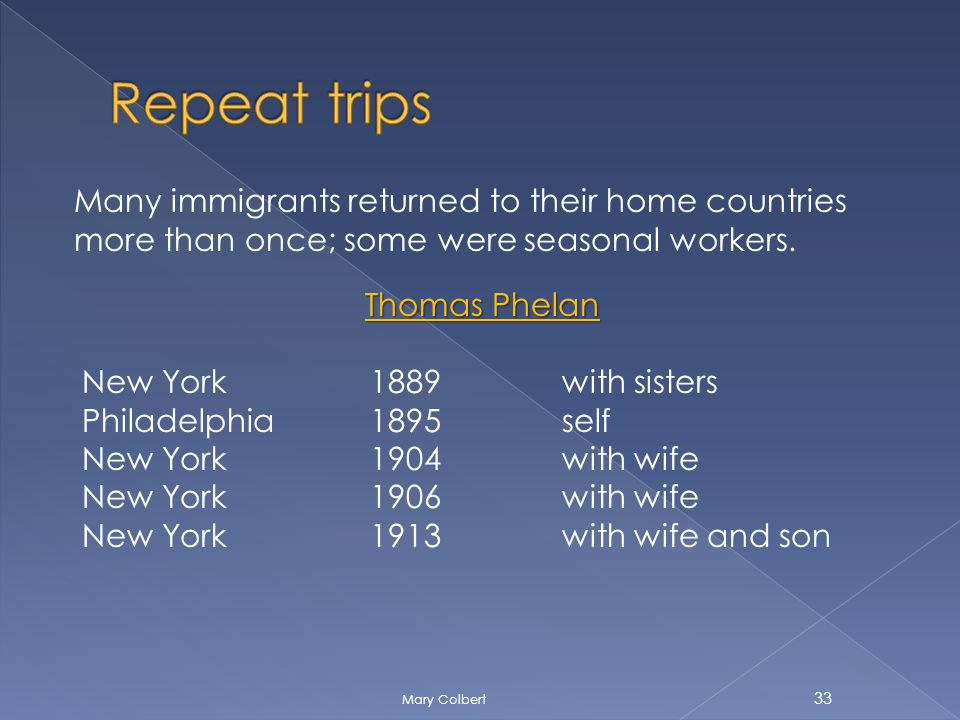 Many immigrants returned to their home countries more than once; some were seasonal workers.