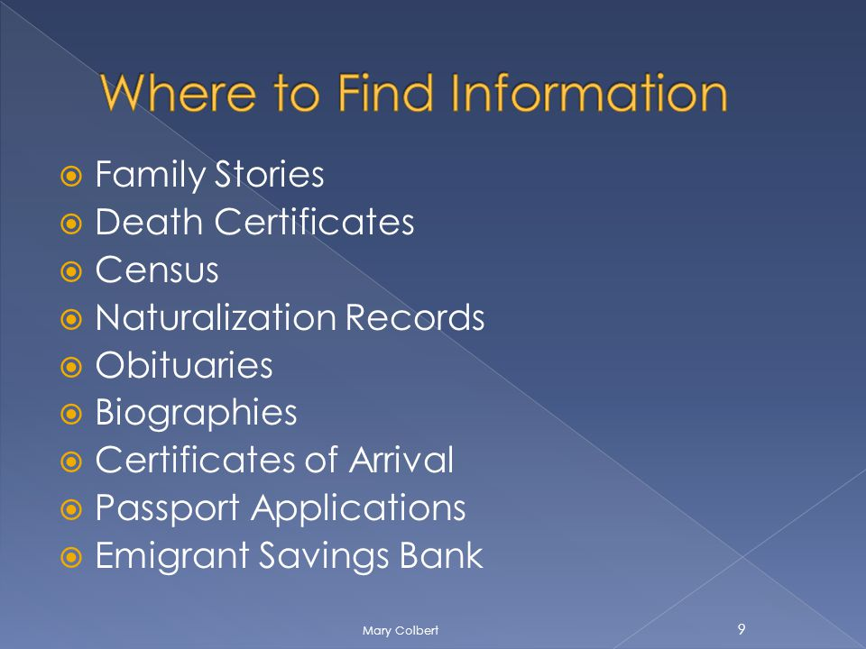 Family Stories Death Certificates Census Naturalization Records Obituaries Biographies Certificates of Arrival Passport Applications Emigrant Savings Bank 9 Mary Colbert