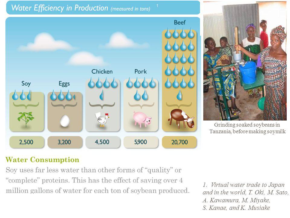 1. Virtual water trade to Japan and in the world, T. Oki, M. Sato, A. Kawamura, M. Miyake, S. Kanae, and K. Musiake Grinding soaked soybeans in Tanzan