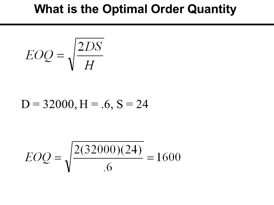 What is the Optimal Order Quantity D = 32000, H =.6, S = 24