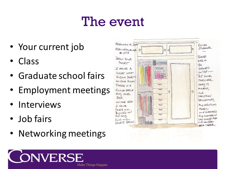The event Your current job Class Graduate school fairs Employment meetings Interviews Job fairs Networking meetings
