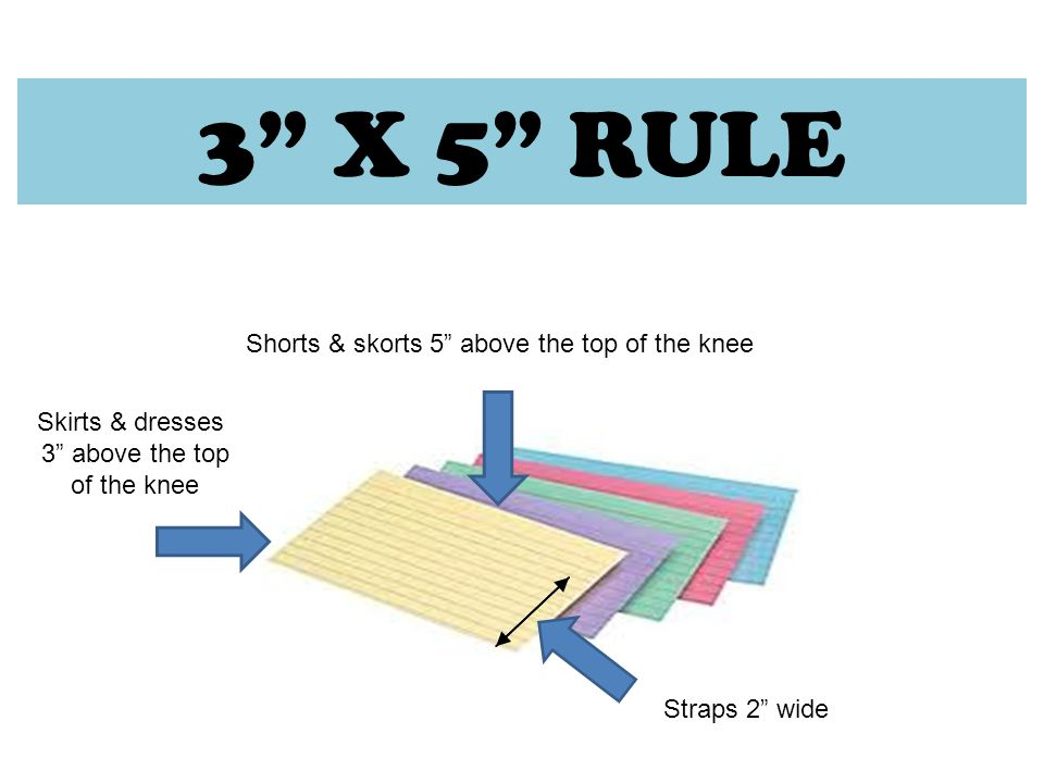 3 X 5 RULE Skirts & dresses 3 above the top of the knee Shorts & skorts 5 above the top of the knee Straps 2 wide