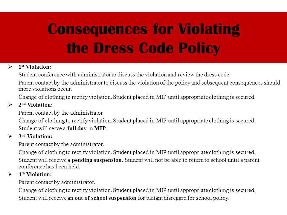 1 st Violation: Student conference with administrator to discuss the violation and review the dress code.