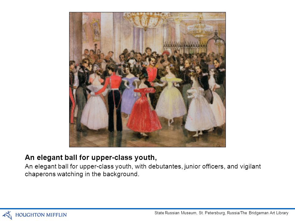 An elegant ball for upper-class youth, with debutantes, junior officers, and vigilant chaperons watching in the background. An elegant ball for upper-
