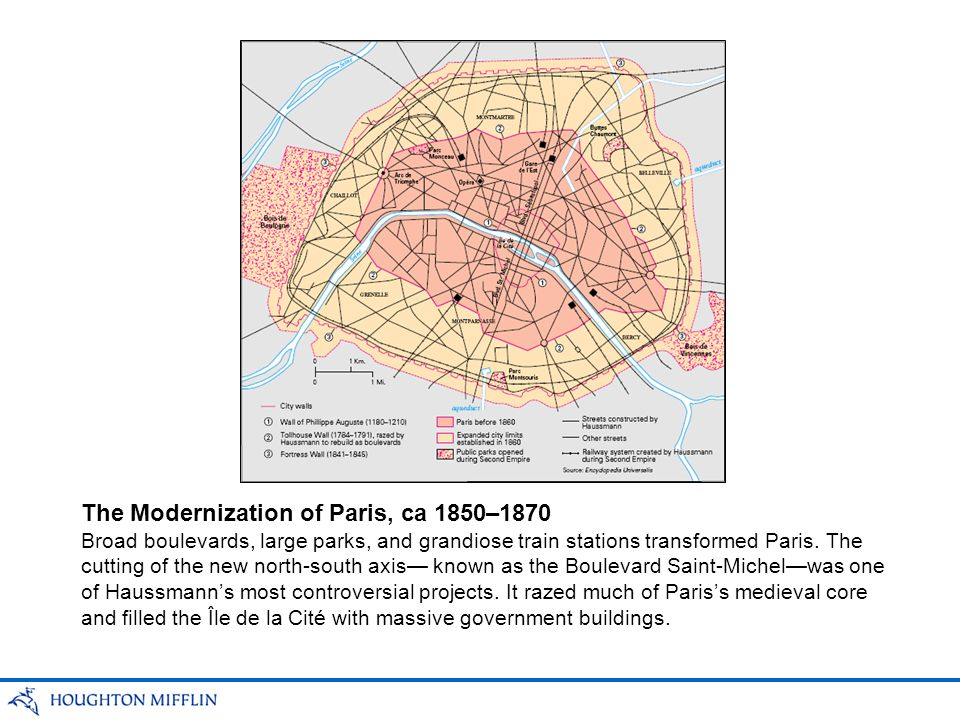 Broad boulevards, large parks, and grandiose train stations transformed Paris. The cutting of the new north-south axis known as the Boulevard Saint-Mi
