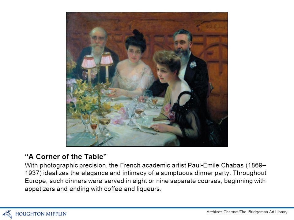 With photographic precision, the French academic artist Paul-Émile Chabas (1869– 1937) idealizes the elegance and intimacy of a sumptuous dinner party