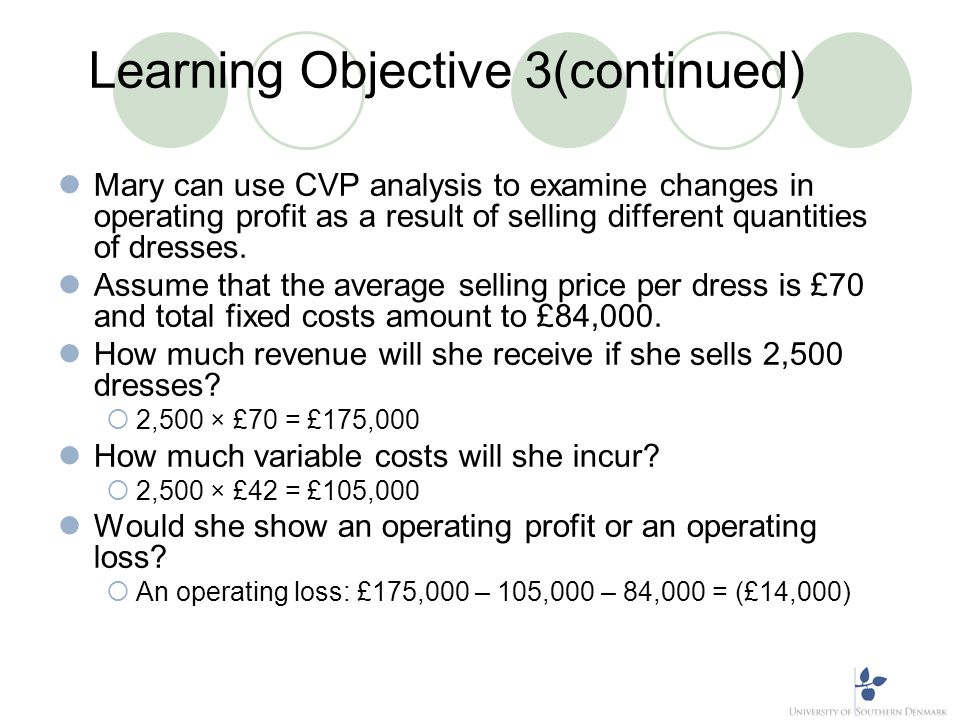 Learning Objective 3(continued) Mary can use CVP analysis to examine changes in operating profit as a result of selling different quantities of dresse