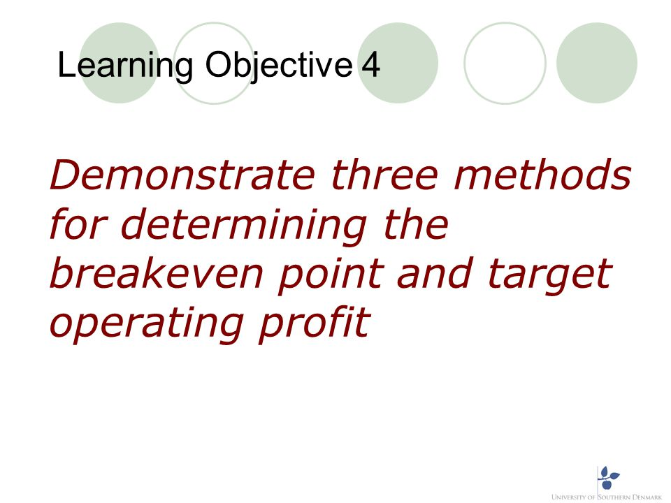Learning Objective 4 Demonstrate three methods for determining the breakeven point and target operating profit