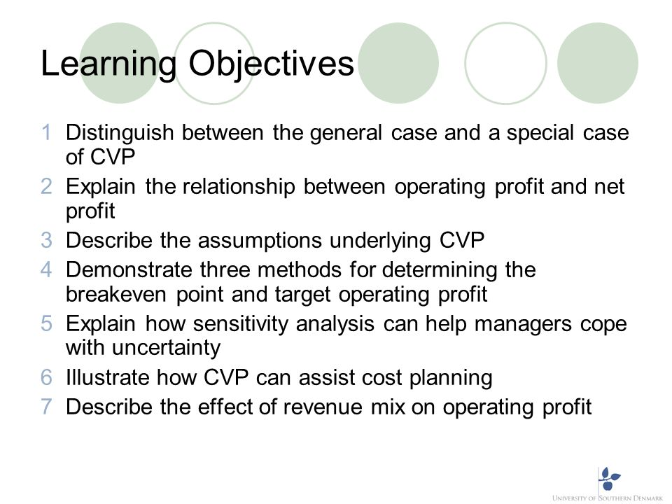 Learning Objective 1 Distinguish between the general case and a special case of CVP