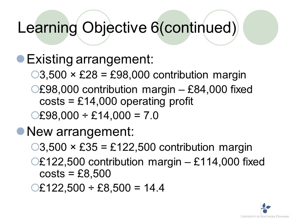 Learning Objective 6(continued) Existing arrangement: 3,500 × £28 = £98,000 contribution margin £98,000 contribution margin – £84,000 fixed costs = £1