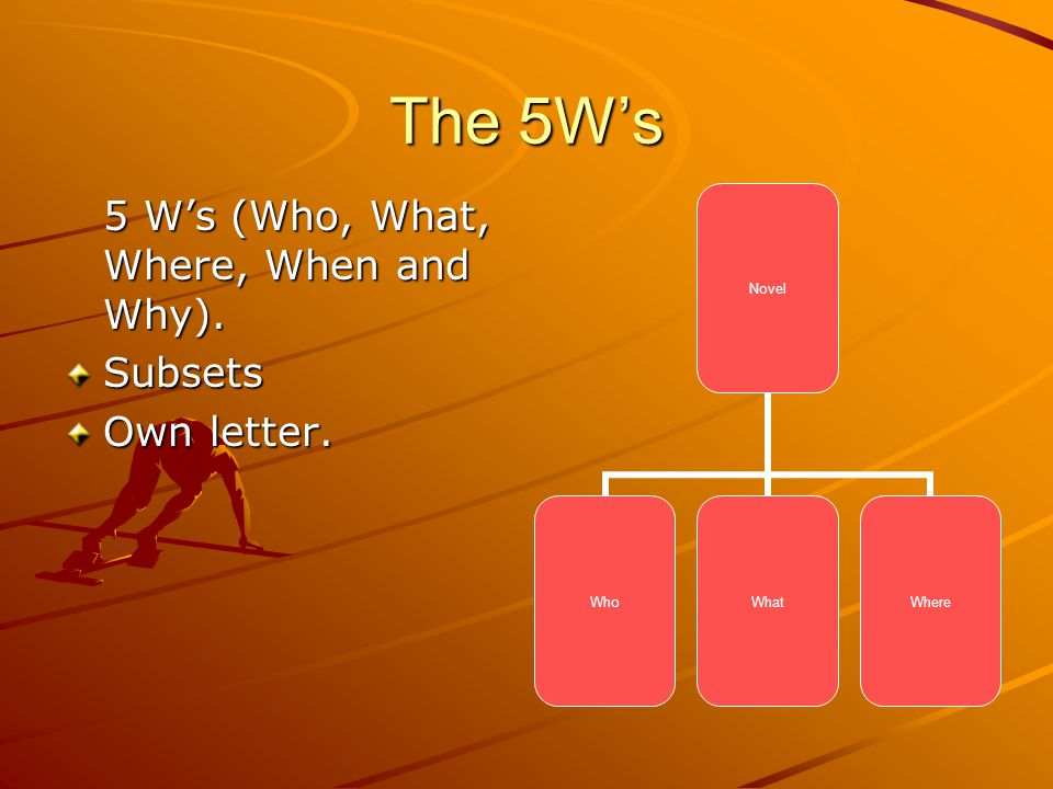 The 5Ws 5 Ws (Who, What, Where, When and Why). Subsets Own letter. Novel WhoWhatWhere