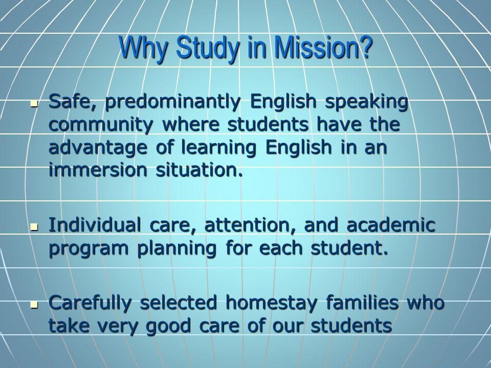 Why Study in Mission.