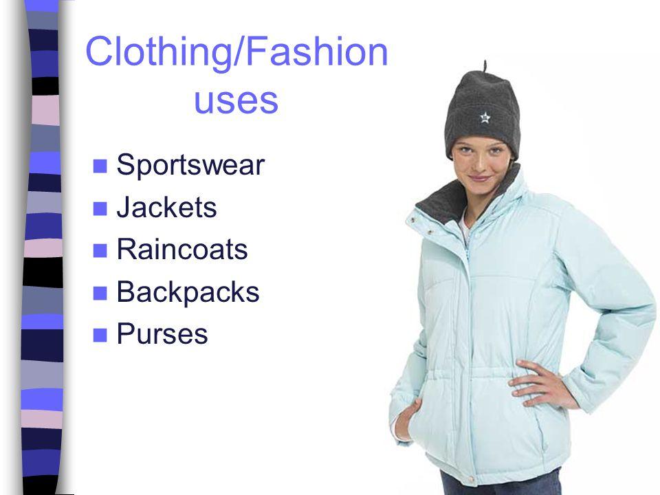 Sportswear Jackets Raincoats Backpacks Purses Clothing/Fashion uses