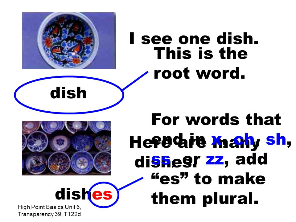 High Point Basics Unit 6, Transparency 39, T122d I see one dish.
