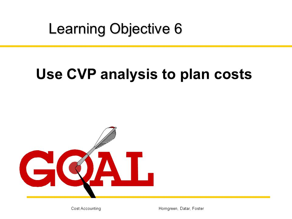 Cost Accounting Horngreen, Datar, Foster Learning Objective 6 Use CVP analysis to plan costs