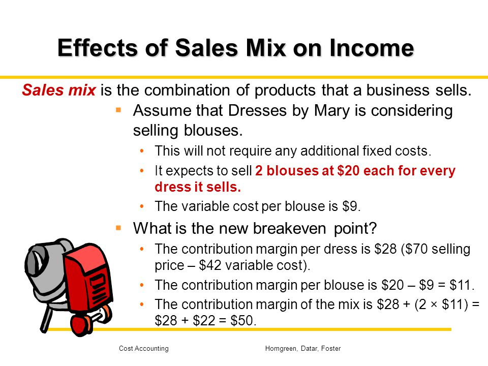 Cost Accounting Horngreen, Datar, Foster Effects of Sales Mix on Income Sales mix is the combination of products that a business sells. Assume that Dr