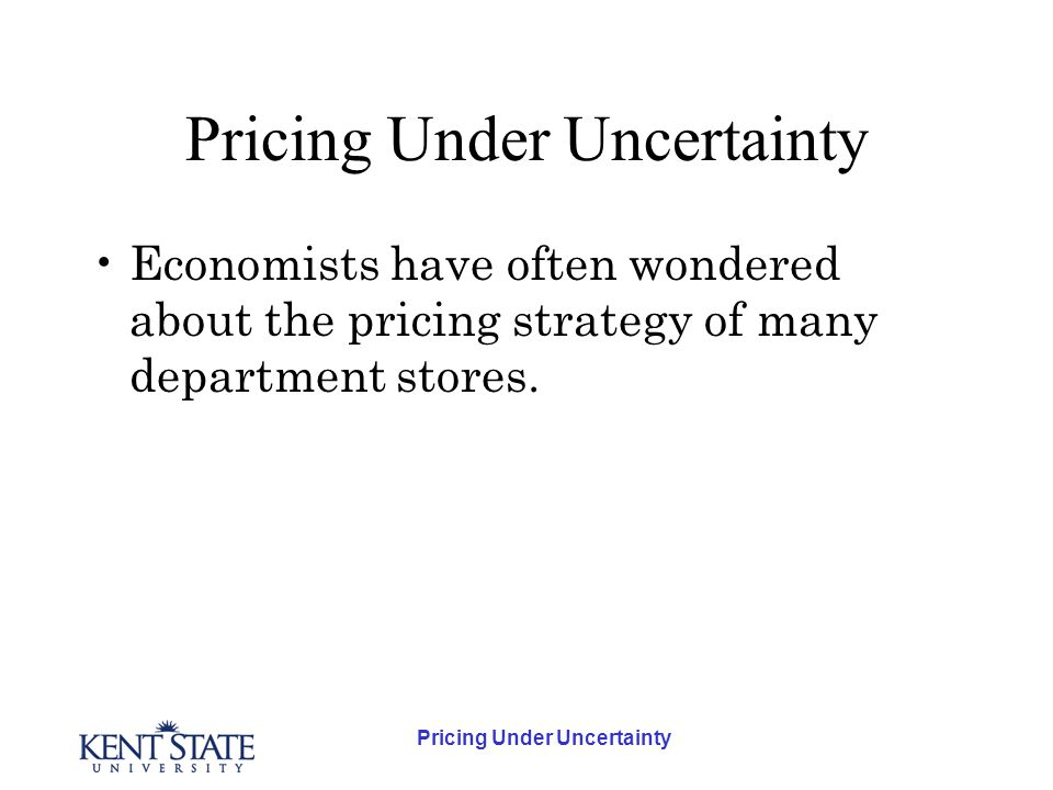 Economists have often wondered about the pricing strategy of many department stores.