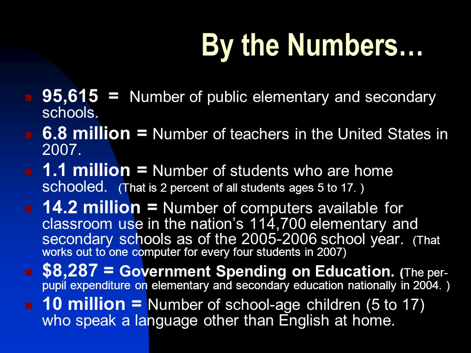 By the Numbers… 95,615 = Number of public elementary and secondary schools.