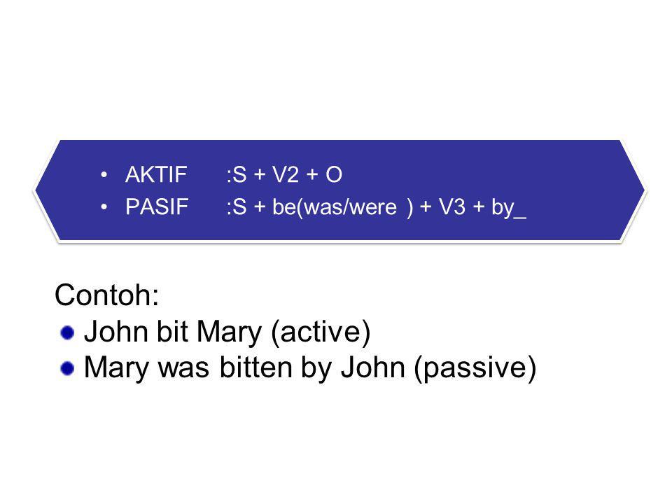 2. PAST FORM AKTIF:S + V2 + O PASIF:S + be(was/were ) + V3 + by_ AKTIF:S + V2 + O PASIF:S + be(was/were ) + V3 + by_ Contoh: John bit Mary (active) Ma
