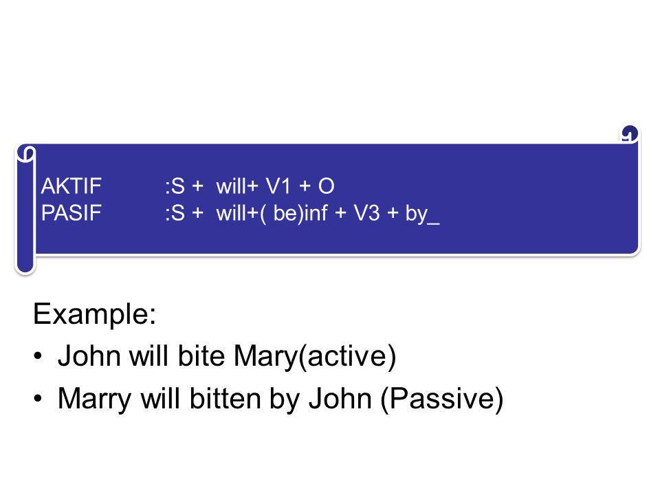 5. FUTURE FORM Example: John will bite Mary(active) Marry will bitten by John (Passive) AKTIF:S + will+ V1 + O PASIF:S + will+( be)inf + V3 + by_ AKTI