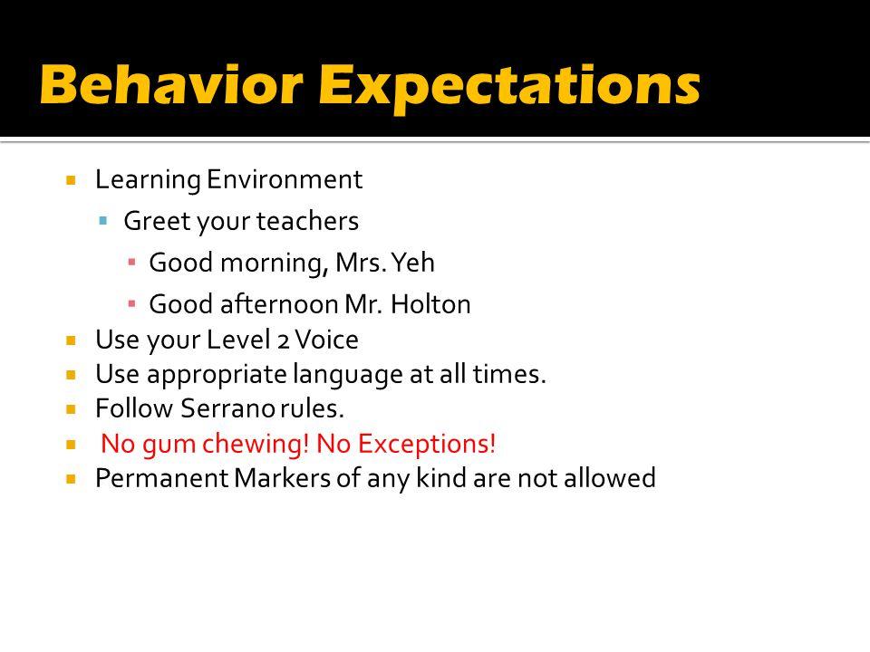 Learning Environment Greet your teachers Good morning, Mrs.