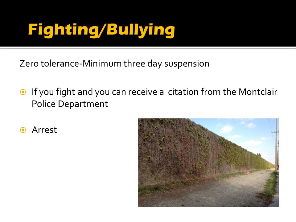 Zero tolerance-Minimum three day suspension If you fight and you can receive a citation from the Montclair Police Department Arrest Fighting/Bullying