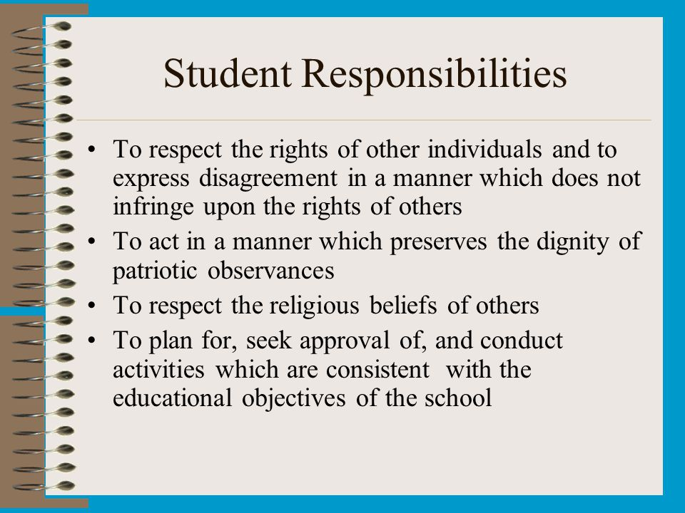 Student Responsibilities To respect the rights of other individuals and to express disagreement in a manner which does not infringe upon the rights of