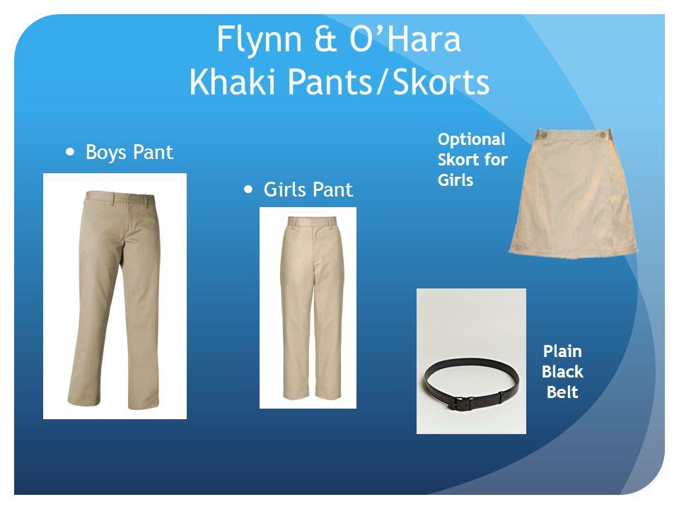 Flynn & OHara Khaki Pants/Skorts Boys Pant Optional Skort for Girls Plain Black Belt Girls Pant